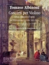 Albinoni, Tomaso : Violin Concertos without Opus Number for principal Violin, 2 Violins, Viola and Basso - Vol. 1: Concerto in D major, Co 1 [Piano Reduction]