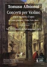 Albinoni, Tomaso : Violin Concertos without Opus Number for principal Violin, 2 Violins, Viola and Basso - Vol. 3: Concerto in G major, Co 4 [Piano Reduction]