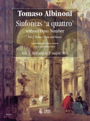 Albinoni, Tomaso : Sinfonias 'a quattro' without Opus number for 2 Violins, Viola and Basso - Vol. 1: Sinfonia in F major, Si 2 [Score]