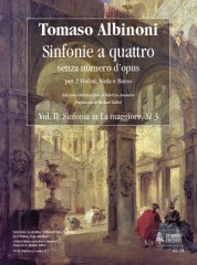 Albinoni, Tomaso : Sinfonias 'a quattro' without Opus number for 2 Violins, Viola and Basso - Vol. 2: Sinfonia in A major, Si 3 [Score]