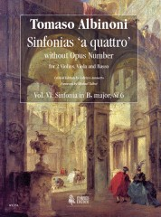 Albinoni, Tomaso : Sinfonias 'a quattro' without Opus number for 2 Violins, Viola and Basso - Vol. 6: Sinfonia in B flat major, Si 6 [Score]