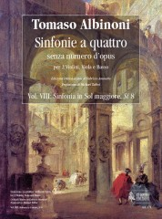 Albinoni, Tomaso : Sinfonias 'a quattro' without Opus number for 2 Violins, Viola and Basso - Vol. 8: Sinfonia in G major, Si 8 [Score]