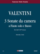 Valentini, Giuseppe : 3 Sonate da camera for Treble Recorder and Continuo