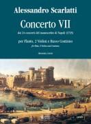 Scarlatti, Alessandro : Concerto No. 7 from the 24 Concertos in the Naples manuscript (1725) for Treble Recorder (Flute), 2 Violins and Continuo