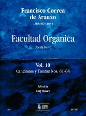 Correa de Arauxo, Francisco : Facultad Organica (Alcalá 1626) [Edition in 11 vols.] - Vol. 10: Canciones y Tientos Nos. 61-64