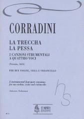 Corradini, Nicolò : La Treccha, La Pessa. 2 Instrumental four-part Canzonas (Venezia 1624) for 2 Violins, Viola and Violoncello