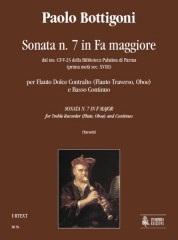 Bottigoni, Paolo : Sonata No. 7 in F Major from the ms. CF-V-23 of the Biblioteca Palatina in Parma (early 18th century) for Treble Recorder (Flute, Oboe) and Continuo
