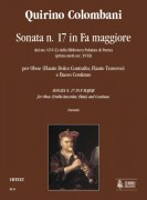 Colombani, Quirino : Sonata No. 17 in F Major from the ms. CF-V-23 of the Biblioteca Palatina in Parma (early 18th century) for Oboe (Treble Recorder, Flute) and Continuo