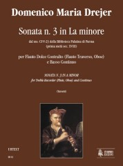 Drejer, Domenico Maria : Sonata No. 3 in A Minor from the ms. CF-V-23 of the Biblioteca Palatina in Parma (early 18th century) for Treble Recorder (Flute, Oboe) and Continuo