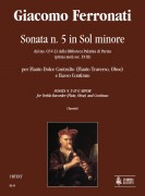 Ferronati, Giacomo : Sonata No. 5 in G Minor from the ms. CF-V-23 of the Biblioteca Palatina in Parma (early 18th century) for Treble Recorder (Flute, Oboe) and Continuo