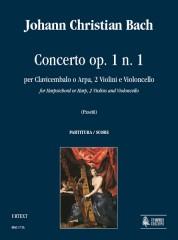Bach, Johann Christian : Concerto Op. 1 No. 1 for Harpsichord or Harp, 2 Violins and Violoncello [Score]