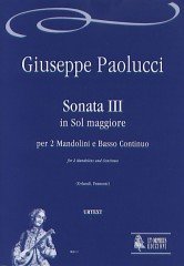 Paolucci, Giuseppe : Sonata III in G Major for 2 Mandolins and Continuo
