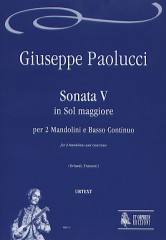 Paolucci, Giuseppe : Sonata V in G Major for 2 Mandolins and Continuo