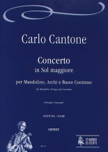 Cantone, Carlo : Concerto in G Major for Mandolin, Strings and Continuo [Score]
