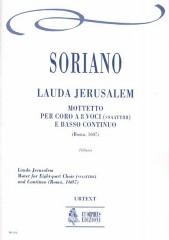 Soriano, Francesco : Lauda Jerusalem. Motet (Roma 1607) for 8-part Choir (SATB-SATB) and Continuo [Score]