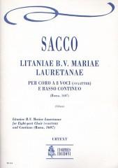 Sacco, Salvatore : Litaniae B.V. Mariae Lauretanae (Roma 1607) for 8-part Choir (SATB-SATB) and Continuo [Score]