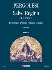 Pergolesi, Giovanni Battista : Salve Regina in A minor for Soprano, 2 Violins, Viola and Continuo [Score]