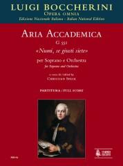"""Boccherini, Luigi : Aria accademica G 551 """"Numi, se giusti siete"""" for Soprano and Orchestra [Score]"""